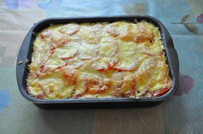 Рецепт запеканки из кабачков с фаршем, картофелем, помидорами и сыром в духовке