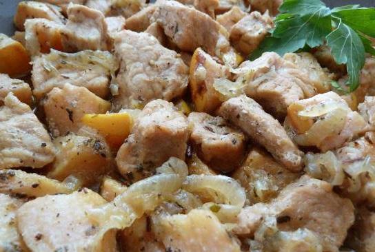 Рецепт с фото : Мясо с айвой. Свинина с айвовым соусом.