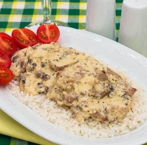 Рецепт с фото: Мясо в сырном соусе. Свинина в соусе.
