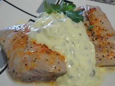 Рецепт: Рыба под огуречным соусом