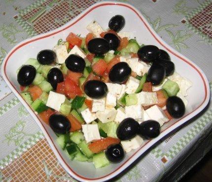 Рецепт с фото: Салат греческий. Греческий салат с маслинами.