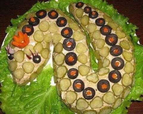 Рецепт с фото: Новогодний Салат Змейка