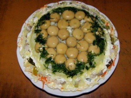 Рецепт с фото: Салат Лукошко с шампиньонами.