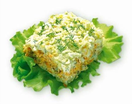 Рецепт: Салат Мимоза с лососем